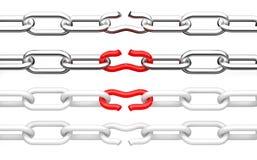 Unterbrochene Kette. Abbildung 3d getrennt stock abbildung
