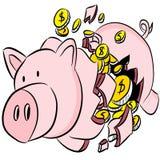 Unterbrochene Piggy Querneigung Stockfotos
