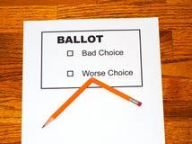 Unterbrochener Bleistift auf gefälschtem Stimmzettel Stockfoto