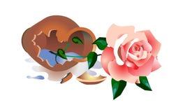 Unterbrochener Vase mit einer Rose Stockfoto