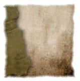 Unterbrochenes altes Pergament getrennt auf weißem Hintergrund Stockbilder