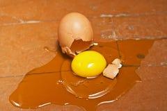 Unterbrochenes Ei auf dem Boden Lizenzfreies Stockfoto