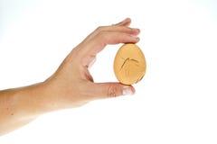 Unterbrochenes Ei in der Hand stockfotografie