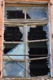 Unterbrochenes Glas und Fenster Stockfoto