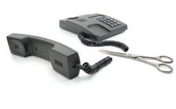 Unterbrochenes graues Telefon Stockbild