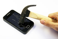 Unterbrochenes intelligentes Telefon Stockbilder