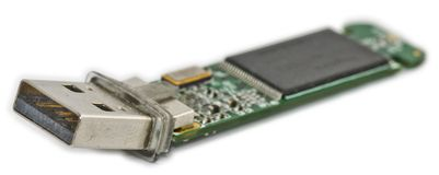 Unterbrochenes USB-Blinkenlaufwerk Stockfotos