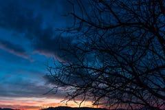 Unterdessen in Kroatien-Sonnenuntergang in Samobor stockfoto