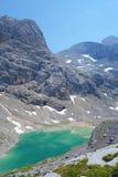 Unterer Eissee sotto il ghiacciaio di Dachstein vicino al tte del ½ del ¿ di Simonyhï in alpi austriache durante l'estate, region Immagini Stock