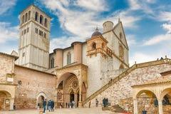 Unterere und obere Basilika des Heiligen Franziskus von Assisi, Italien Stockbilder