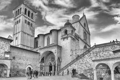 Unterere und obere Basilika des Heiligen Franziskus von Assisi, Italien Lizenzfreies Stockbild