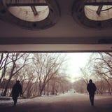 Unterführung, die in Park führt Stockbilder
