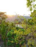 Untergehende Sonne auf den Hügeln Stockfotografie