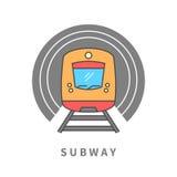 Untergrundbahn im Tunnel Lizenzfreies Stockfoto