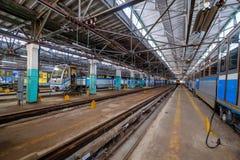 Untergrundbahn-Metrodepot Krasnaya-presnya Innenraum Lizenzfreie Stockbilder