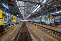 Untergrundbahn-Metrodepot Krasnaya-presnya Innenraum Lizenzfreie Stockfotografie