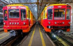 Untergrundbahn-Metrodepot Krasnaya-presnya Innenraum Stockbild