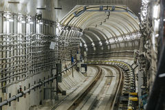 Untergrundbahn-Tunnel NYC Stockfotos