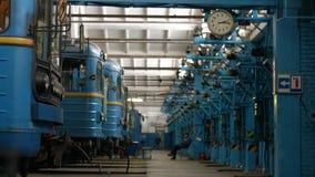 Untergrundbahnen am Depot lizenzfreie stockfotos