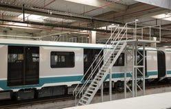 Untergrundbahnen in einem Depot stockfoto