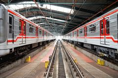 Untergrundbahnen im Depot Hostivar, Prag Stockfoto