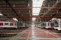 Untergrundbahnen im Depot Hostivar, Prag Stockbilder