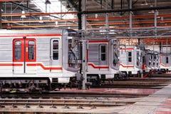 Untergrundbahnen im Depot Hostivar, Prag Lizenzfreies Stockfoto