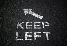 Unterhalt-linkes Zeichen Lizenzfreies Stockbild