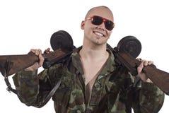Unterhaltener Krieger. Stockbild