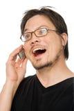 Unterhaltung auf Mobiltelefon stockbilder