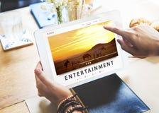 Unterhaltung, die Medien-Kanal-Multimedia-Konzept strömt Stockbild