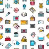 Unterhaltung, Kino, Film, nahtloses Muster des Filmvektors Lizenzfreie Stockfotos