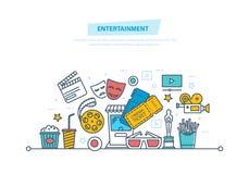 Unterhaltung, Kino und Film, Kinokonzept Ikonen eingestelltes Kino und Filme getrennt auf Weiß lizenzfreie abbildung