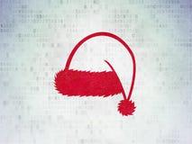 Unterhaltung, Konzept: Weihnachtshut auf Digital-Daten-Papierhintergrund lizenzfreie abbildung