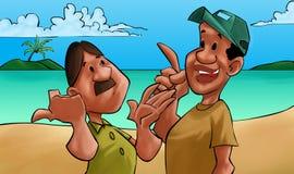 Unterhaltung mit zwei Freunden Stockfotos