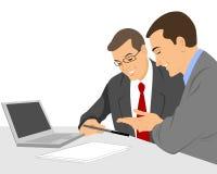 Unterhaltung mit zwei Geschäftsmännern stock abbildung