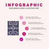 Unterhaltung, Spiel, Fußball, Schritt-Darstellungs-Hintergrund Feld-fester Ikone Infographics 5 stock abbildung