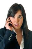 Unterhaltung am Telefon überrascht Lizenzfreie Stockfotos