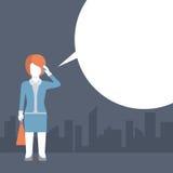 UnterhaltungsScheinmeldung des telefons der komischen flachen Schablonenvektorfrau Stockfotos