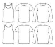 Unterhemd, T-Shirt und langärmlige T-Shirt Schablone vektor abbildung