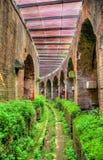 Unterirdischer Durchgang unter der Arena des Capua-Amphitheatre Stockbilder