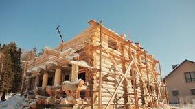 Unterminated budynek Kanadyjski kąta kamieniarstwo Kanadyjczyka styl Drewniany dom robić bele zbiory wideo