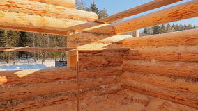 Unterminated building walls. Canadian angle masonry. Canadian style. Wooden house made of logs. stock video footage