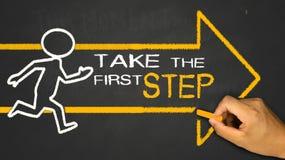 Unternehmen Sie den ersten Schritt Stockfotografie