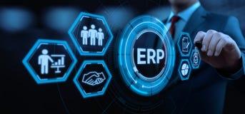 Unternehmens-Ressource, die ERP-Unternehmensgeschäftsleitungs-Geschäfts-Internet-Technologie-Konzept plant stockbild