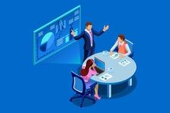 Unternehmensanalyse-Teamwork-flache isometrische Fahne vektor abbildung