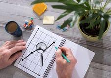 Unternehmensanalysekonzept auf einem Notizblock Stockbilder