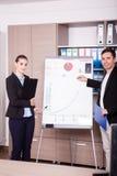 Unternehmensarbeitskräfte in einem Büro nahe bei einer Flip-Chart lizenzfreies stockbild