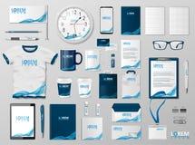 Unternehmensbrandingidentitäts-Schablonendesign Modernes Briefpapiermodell für Shop mit moderner blauer Struktur Geschäft Lizenzfreie Stockfotografie
