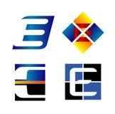 Unternehmensbuchstabefirmenvektor-Designschablone des logo-E Stockbilder